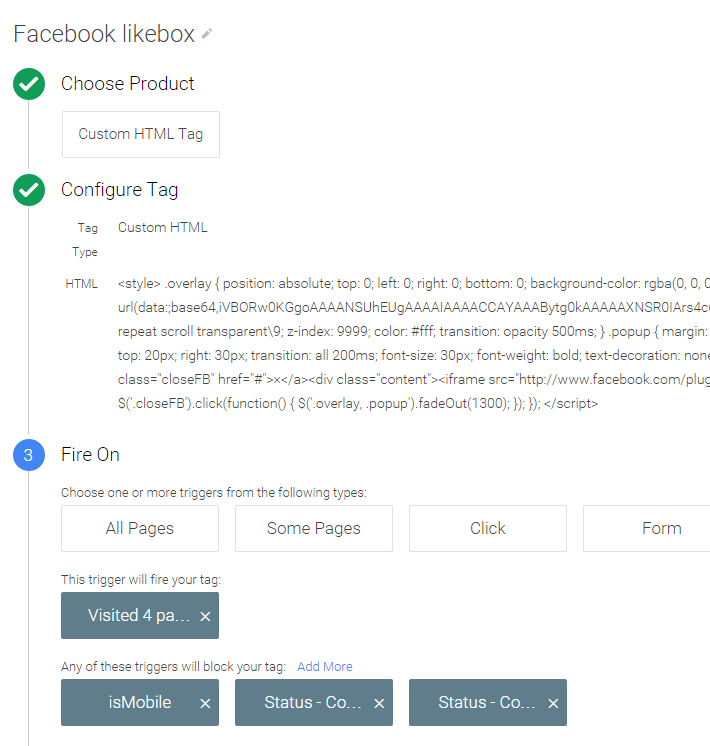 Show a Facebook Like popup with the Google Tag Manager